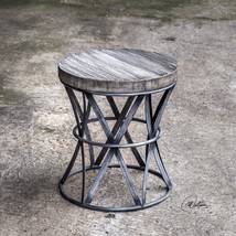 "NEW 18"" FORGED METAL AGED MANGO WOOD TOP STOOL SEAT VINTAGE INDUSTRIAL S... - $292.60"