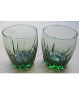 Vintage (2) Short Anchor Hocking Swirl Design Green Color Glass Tumblers - $18.99