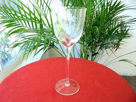 High Quality Clear Crystal Tall Wine Glass Etched Stemware Unknown Pattern - $9.90