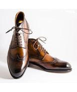New Handmade Men's Brown Wing Tip Brogue Lace Up Boots, Leather High Ank... - $159.99+