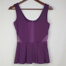 Jack Womens Knit Top XS Purple Peplum Sleeveless Mesh Sheer Tank Top Blouse - $19.99