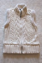 Gap Kids Girls Sweater Vest Size M 8 White Cable Knit Zip Front Faux Fur Trim - $21.55