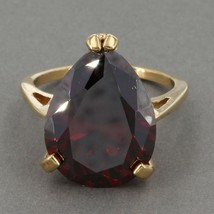 Uncas Gold Clad Sterling HUGE Pear Shaped Red CZ Solitaire Cocktail Ring... - $17.99