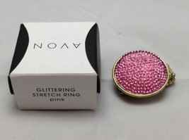 Avon Glittering Stretch Pink Ring One Size NIB - $9.49
