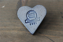 RARE Vintage 1991 Rowe Pottery Works Heart Pin Brooch - $19.80