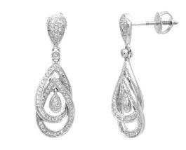 10 K White Gold 0.38 Ct Diamond Dangling Earrings image 2