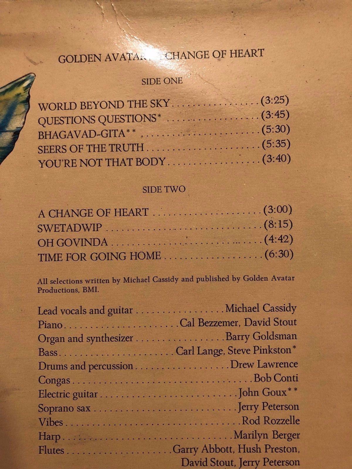 "1976 GOLDEN AVATAR ""A CHANGE OF HEART"" VINYL LP ALBUM RECORD"