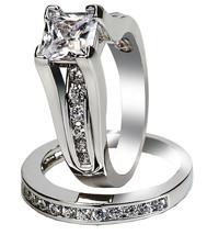 Women's Stainless Steel Princess Cut Top CZ Wedding Ring Set Size 5-11 - $19.99