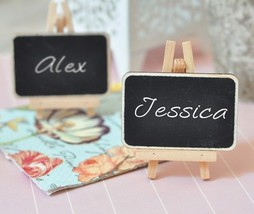 Set of 2 Chalkboard Easel Wedding Place Card Holders Favors Blackboard D... - $2.18