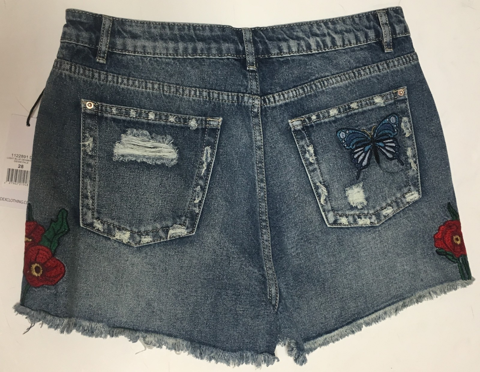 DEX Jean Shorts Embroidered Hummingbird Floral Distressed Sz 28 image 5