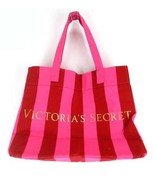 VICTORIA'S SECRET X Large Pink Red Striped Canvas Beach Tote Bag - $14.85