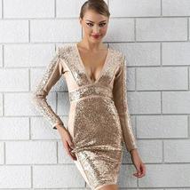 Winter Luxury Sequin Sexy V Neck Bandage Party Dress image 1