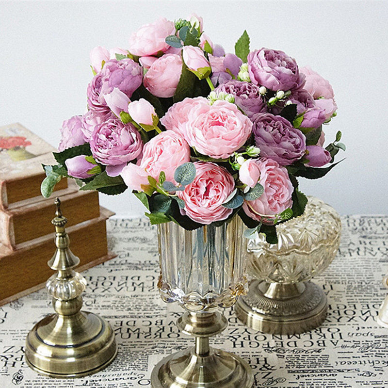 peony artificial silk flowers small bouquet flores home party spring wedding decoration mariage