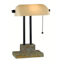 Kenroy Home 21041SL Greenville Banker Lamp, Natural Slate with Oil Rubbe... - $77.77