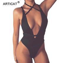 SIBYBO Deep V Neck Sexy Bandage Bodysuit Women DIY Lace up Backless Summ... - $37.82