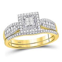10kt Yellow Gold Princess Diamond Bridal Wedding Engagement Ring Set 1/2 Ctw - $598.00