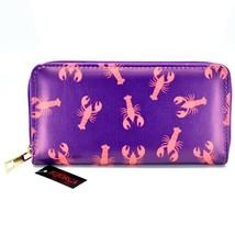 Bijorca Red Lobster Nautical on Purple Printed Vinyl Zip Around Clutch Wallet