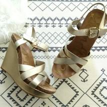 Sam Edelman Nelson Gold Platform Wedge Sandals Size 10 Ankle Strap Metallic - $37.99