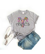 Colorful Flowers Women's Aries Zodiac Sign April Birthday T-Shirt Tee Grey - $11.89