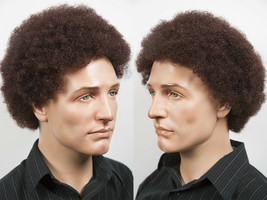 Premium Quality Tight Curly Men's Afro Style Wig Adjustable Size Synthet... - $38.99