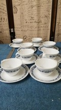(8)Vintage CORELLE Old Town Blue Onion Hook Handles Coffee Cups And Saucers - $17.20