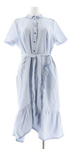 Isaac Mizrahi Seersucker Shirt Dress Ruffle Blue 8 NEW A305234 - $49.48