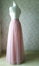 A-line Long Tulle Skirt Pink Long Tulle Skirt Wedding Tulle Skirt image 5