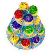 Blue 3 Tier Cupcake Stand, 14in Tall by 12in Wide - $15.09
