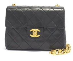 Auth CHANEL Shoulder Bag Black Leather Mini Matelasse Vintage Crossbody B5176 - $2,829.42