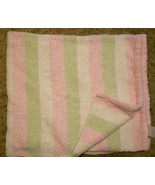 Carters Comfy Cozy Blanket Chenille Stripes Pink Green White Soft - $22.75