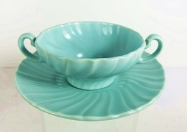 Franciscan Pottery Coronado SATIN AQUA Cream Soup Bowl & Saucer Double H... - $23.75