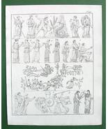 MYTHOLOGY Greek Gods Priestesses Sappho Hesperides Medea - 1825 Antique ... - $13.05