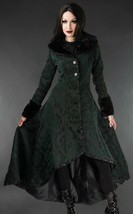 Women's Green Brocade Gothic Victorian Winter Long Corset-Back Steampunk... - $167.99
