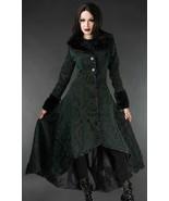 Women's Green Brocade Gothic Victorian Winter Long Corset-Back Steampunk... - $167.99
