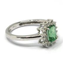 18K WHITE GOLD RECTANGULAR RING, DIAMOND & EMERALD, MADE IN ITALY  image 3