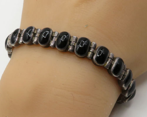 Primary image for MEXICO 925 Sterling Silver - Vintage Onyx Gemstone Tennis Bracelet - B2022