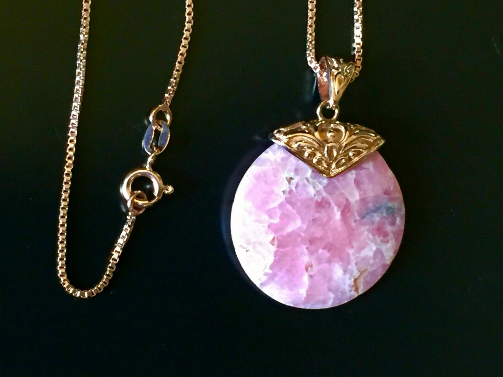 "Pink Rhodochrosite pendant & Copper chain 18"" NEW. Never worn"