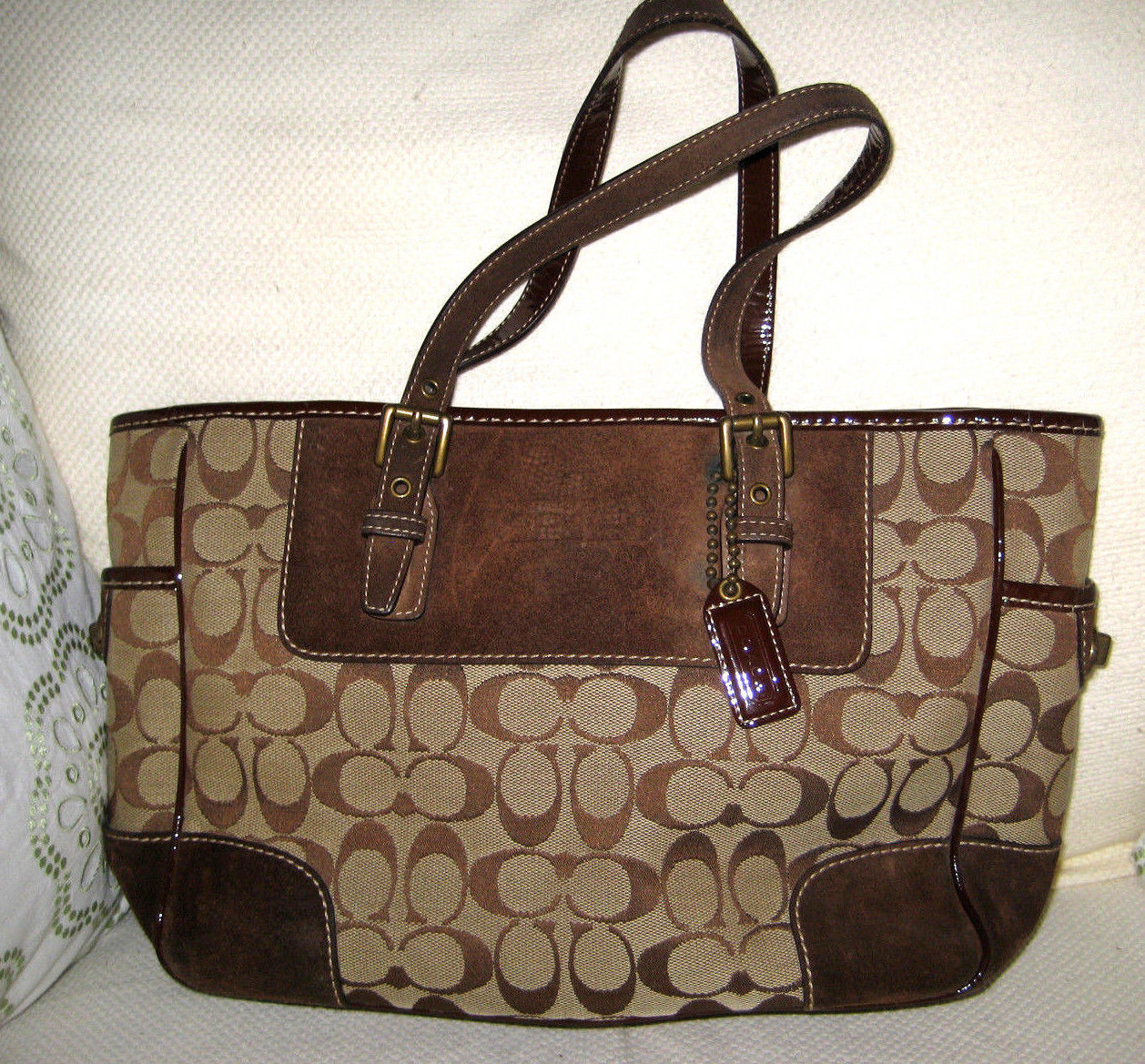 Authentic COACH Tote Bag Brown Suede and 50 similar items. 57 5db2bbfa0ffb3