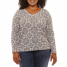 NWT ST.John's Bay 100% cotton brown white  long sleeve tee top plus 0x - $17.81