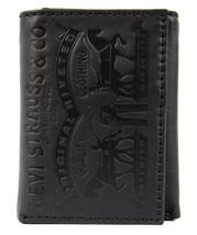 Levi's Men's Coated Leather Credit Card Trifold Wallet Embossed Logo Black image 1