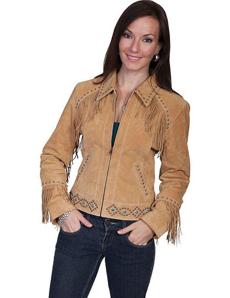 QASTAN Women's New Beige Fringe/Silver Studs Suede Cow Leather Jacket WWJ16A