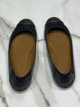 Coach Womens Chelsea Ballet Flats Navy Blue Silver Metal Toe Size 8B - $30.81