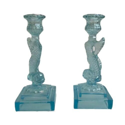 Vintage Blue Iridescent Glass Empire Dolphin Candlesticks Candle Holder Imperial