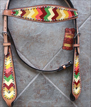 Hilason Western Horse Headstall Bridle American Leather Aztec Hand Paint U-0-HS - $59.40