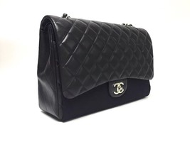 AUTHENTIC CHANEL BLACK QUILTED LAMBSKIN MAXI CLASSIC DOUBLE FLAP BAG GHW image 3