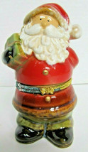 Decorative SANTA CLAUS Hinged Ceramic Trinket Box - 4 1/2 in tall - Chri... - $8.41