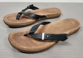 UGG® 'Sela' Flip Flop Black Leather Womens Size 9 / 40 - $22.49