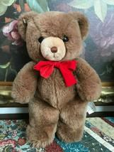 Gund Vintage 1983 Tender Teddy Brown Bear Red Velvet Ribbon Retired 13 inch - $86.85
