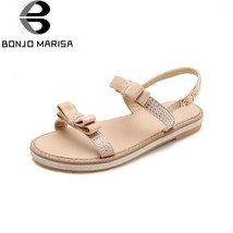 C Buckle BONJOMARISA New Strap Bowtie Brand Woman Crystal Flat Shoes With Solid PPHSq