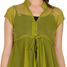 Ira Soleil green block printed poly chiffon cap sleeve womens top - $49.99